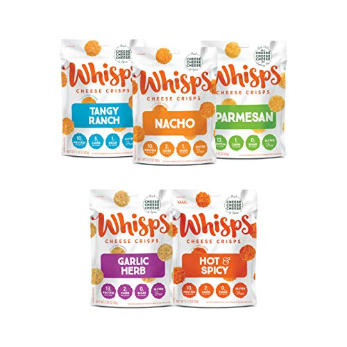 Whisps Cheese Crisps 5-Flavor Variety Pack | Tangy Ranch, Nacho, Parmesan, Garlic Herb, Hot & Spicy | Back to School Snack, Keto Snack, Gluten Free, Low Sugar, Low Carb, High Protein | 2.12oz (5 pack)