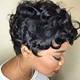 TOOCCI Parrucche Capelli Veri Ricci Pixie Cut Curly Wigs Human Hair Parrucca Donna Capelli Veri Prrucche Capelli Veri Corti Naturali Brasiliani Glueless Human Hair Wigs For Black Women 130% Density