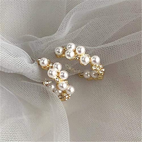Pendientes de perlas de las mujeres pendientes de cristal de la moda pendientes de la geometría del temperamento femenino de la perla grandes pendientes para las mujeres accesorios de