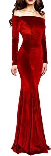 TTYbridal Women's Off The Shoulder Evening Long Party Dress W/ Two Sleeves