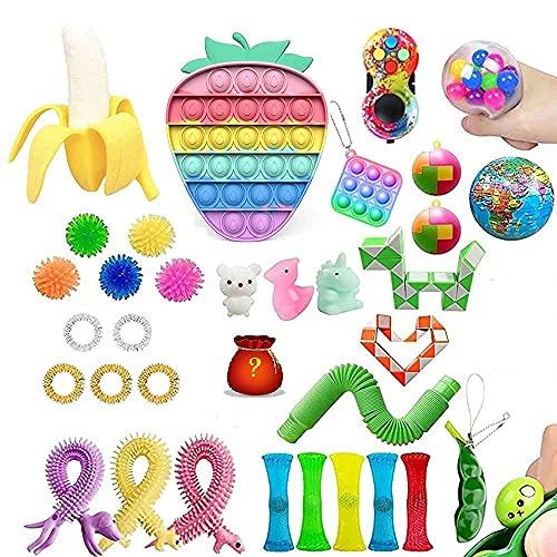 Eghunooye Juego de 40 juguetes fidget   Sensory Fidget Toys Pack   Cheap Fidget Toys Box con helado Fresa Spaceman Pop Stress Relief Toys para niños y adultos