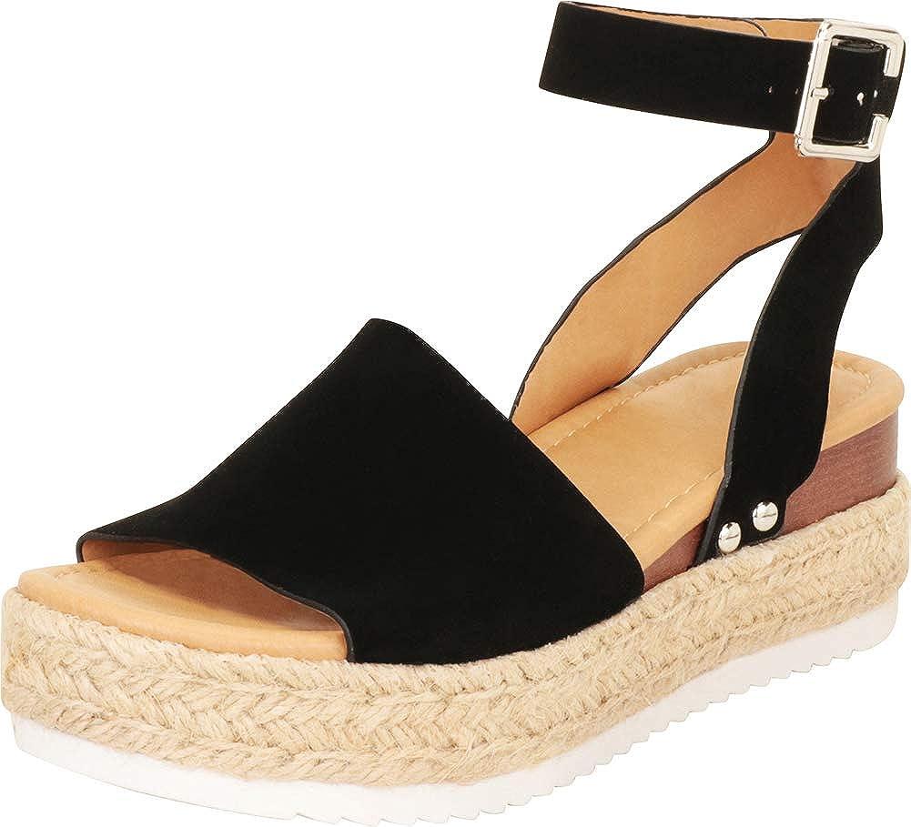 Cambridge Select Women's Open Toe Ankle Strap Espadrille Flatform Sandal