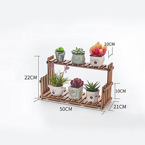 Global- Rétro couleur Couches multiples Matériaux de pin Style de sol Style Racks de fleurs, jardin Chambre Balcon Fenêtre Bureau Salon Couloir Étagère en pot en bois (taille : Length 50 cm)