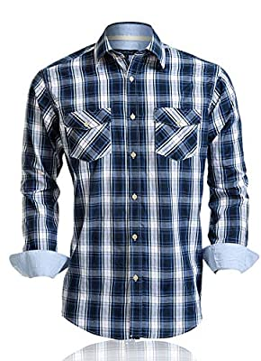 Double Pump Mens Shirts Long Sleeve Casual with Pockets Western Plaid Shirts Regular Fit with Soft Washing Effect