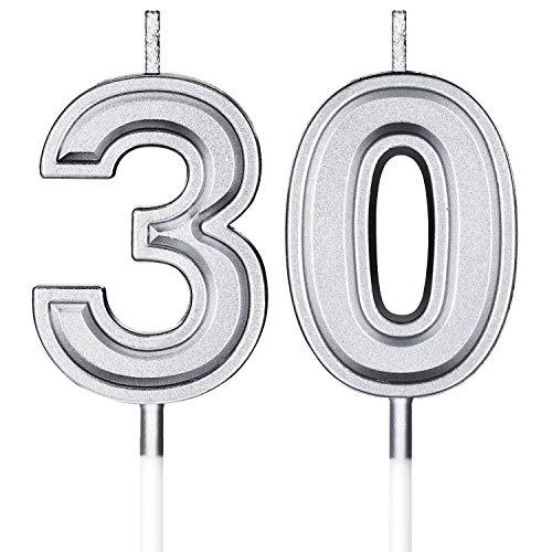 Candele di Compleanno 30 ° Numero Candele Buon Compleanno Torta Topper Decorazioni per Compleanno Nozze Anniversario Celebrazione Articoli (Argento)