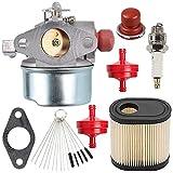 Wellsking 640350 Carburetor with Air Filter Spark Plug for Tecumseh 640271 640303 640338 640274 13566 LV195EA LV195XA LEV100 LEV105 LEV120 OVRM120 Mowers Carb
