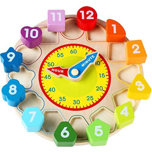 NECZXW1 Rompecabezas de Juguete, Formas educativas de Madera para niños a Juego con Cuentas, Reloj Digital para el Zodiaco de la educación temprana del bebé, Bloques de construcción para niños