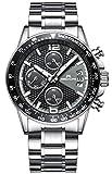 Herren Uhren Männer Chronograph Sport Wasserdicht Silber Edelstahl Armbanduhr Mann Business Mode Lässige Datum Analoge Uhr
