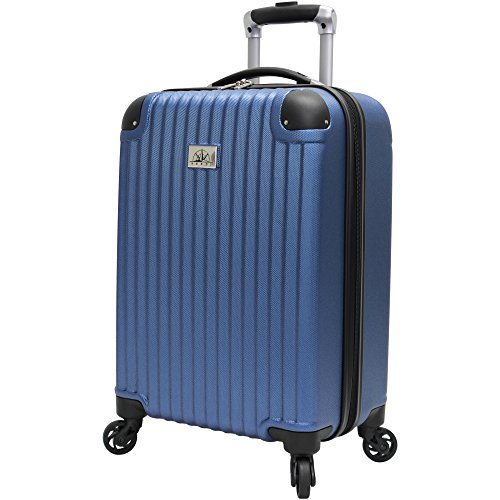 Verdi Designer 20 Inch Carry On Luggage Collection - Scratch Resistant (ABS+PC) Hardside Suitcase - Small Lightweight Bag with 4-Rolling Spinner Wheels (Dark Lake Blue)