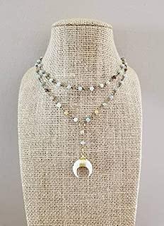 White Double Horn Lariat Choker Necklace Multi Color Amazonite Stone