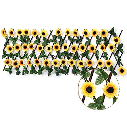 Frotox Valla Extensible de jardín, Pantalla de privacidad para balcón, Patio al Aire Libre, Decorativo, Hojas de Girasol Artificiales, Valla, decoración de Panel, Valla de Girasol
