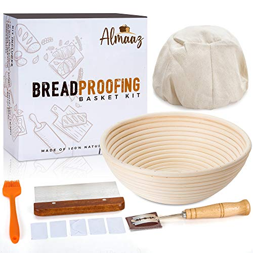 ALMAAZ 10 Inch Round Bread proofing Basket set, Banneton Bread Proofing Basket With Bread Lame, Dough Scraper, Baking brush, Proofing Cloth Liner For Sourdough Bread, Fine Baking for Professional & Home Bakers.
