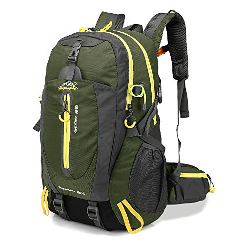 Lixada 40L Resistente al Agua Mochila, Portátil Mochila Trekking, Laptop Daypack, Durable Impermeable, para Escalada, Viajes, Actividades al Aire Libre (Verde Militar)