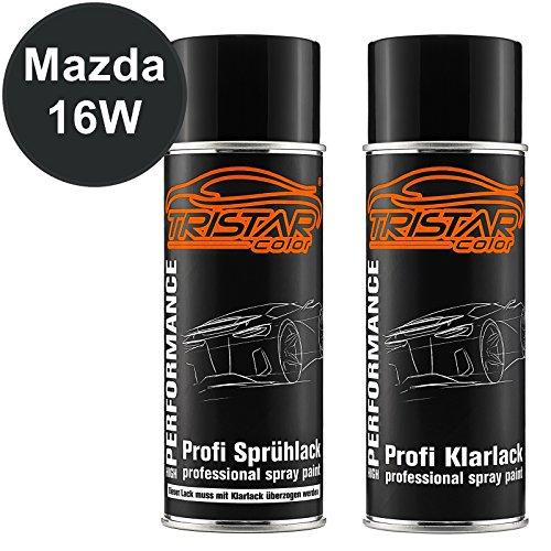 TRISTARcolor Autolack Spraydosen Set für Mazda 16W Black Perl Metallic/Granitschwarz Metallic Basislack Klarlack Sprühdose 400ml