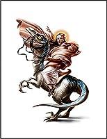 【恐竜 に乗る ジーザス】 余白部分にオリジナルメッセージお入れします!ポストカード・はがき(白背景)
