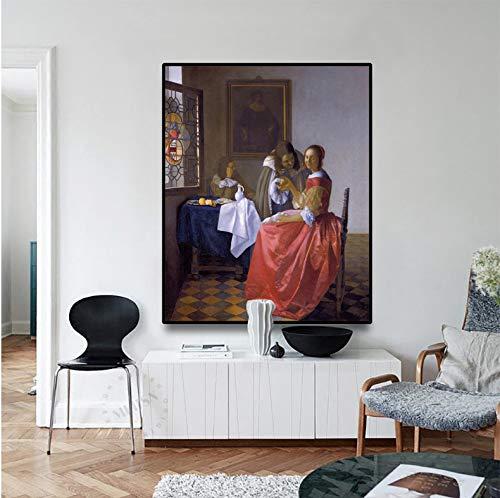 YIGUBIGU Leinwand Kunst Ölgemälde 《Mädchen trinkt Wein mit einem Gentlman》 Johannes · Vermeer Kunstplakat Wanddekoration Moderne Wohnkultur ohne Rahmen 70 * 50cm