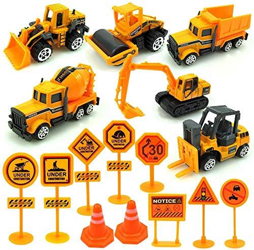 Etmury Baufahrzeuge Spielzeug, 6 Stück Mini Legierung Bagger und 10 Stück Straße Zeichen, Spielzeugautos Kinder Spielzeug Geschenk Für Kindertag, Ostern, Weihnachten, Geburtstag