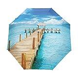 SUHETI Paraguas automático de Apertura/Cierre,Bungalow en el mar Claro Destino del Viaje Playa Paisaje Marino Vista exótica,Paraguas pequeño Plegable a Prueba de Viento, Impermeable
