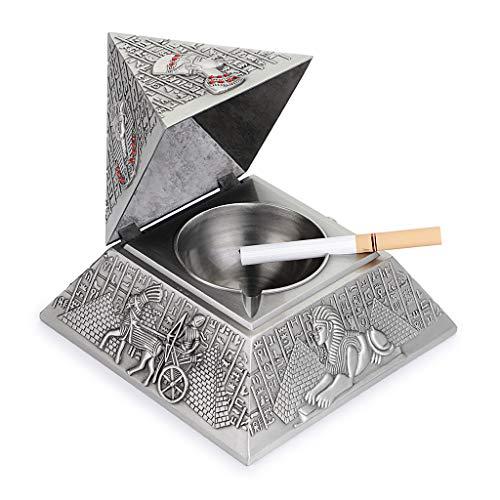 Imagen del producto BSTKEY Cenicero vintage a prueba de viento con tapas - cenicero de mesa de diseño piramidal, boquilla para uso interior y exterior, decoración retro de hogar u oficina, plata