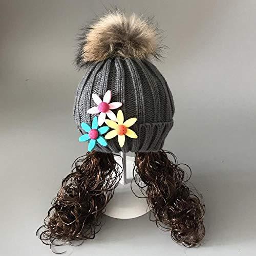 Bébé chapeau tricot automne et perruque princesse enfants hiver chapeau cheveux femme balle laine chaude mode mignon 0-2 ans (vraiment boules de fourrure de raton laveur) , Taille , trois fleurs gris