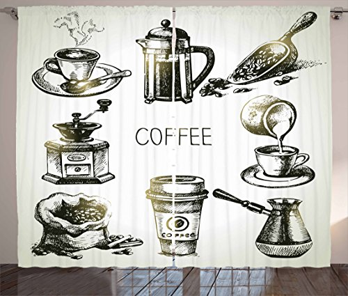 Ambesonne Coffee Curtains, Brewing Equipment Doodle Sketch Grinder French Press Plastic Scoop Vintage, Living Room Bedroom Window Drapes 2 Panel Set, 108 X 63, Yellow Black