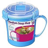 Sistema Tazze per zuppa da microonde, plastica, blu, 14.2 x 11.4 x 11.9 cm