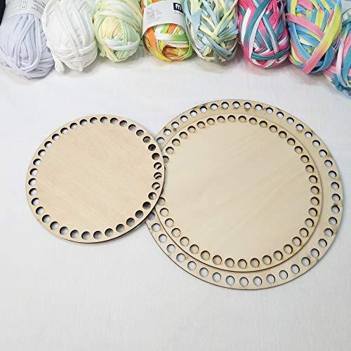 Juego de 3 fondos de madera para canasta, base de madera cortada con láser, con agujero, cestas de madera círculo para ganchillo DIY T Shirt Yarn Basket (redondo, tamaños mezclados)