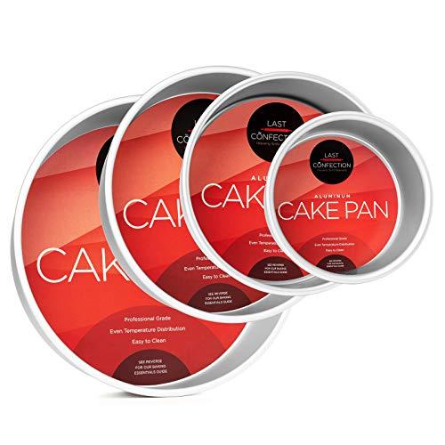 Last Confection 4-Piece Round Cake Pan Set - Includes 6', 8', 10' and 12' Aluminum Pans - 3' Deep