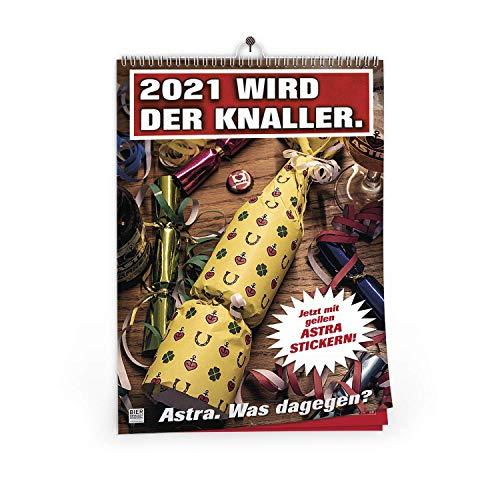 ASTRA A3 Wandkalender 2021 mit unterschiedlichen Bier-Motiven und Stickerbogen, lustiger Kalender zum Aufhängen, für Männer & Frauen, Geschenk-Ideen aus St. Pauli