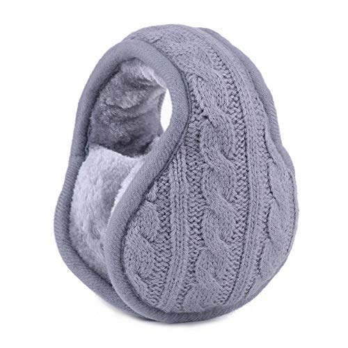 XFYS Ohrenwärmer für Männer Frauen Winter gestrickte Ohrenschützer Faltbarer Wollplüsch Ohrenschützer Ohrenschützer Tasche Zurück Tragen Kaschmir Ohrwärmer-Grau