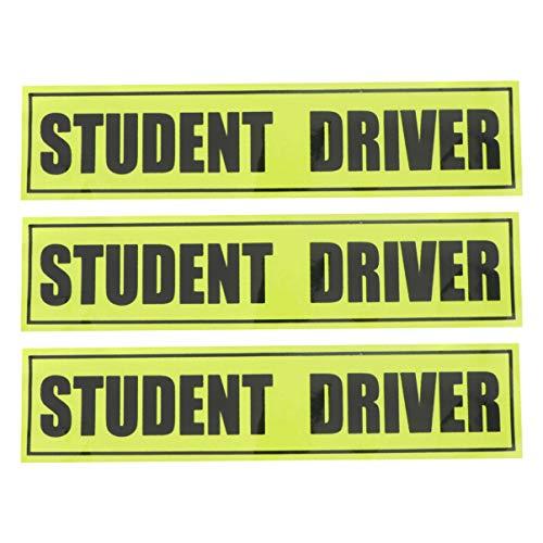 NUOBESTY Placa de carro de estudante 3 peças, adesivo de para-choque de motorista para segurança atraente para novo motorista estudante adesivo adesivo adesivo de aderência para carro veículo automotivo