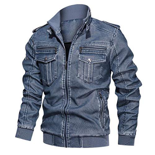 LIXIYU Bomberjacke Mensmotorradjacke beiläufige Militärfracht Jacke Baseball Jacken Leder Motorrad Retro- lose Mehrfach gewaschen,Blue-XXL