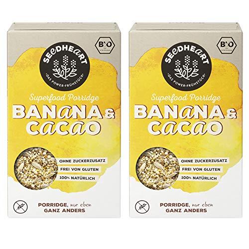 Seedheart Bio Superfood Porridge Banana Cacao 2x250g | ohne Hafer | Glutenfrei | Ohne Zucker | Buchweizen Lupinen Hirse Amaranth Quinoa