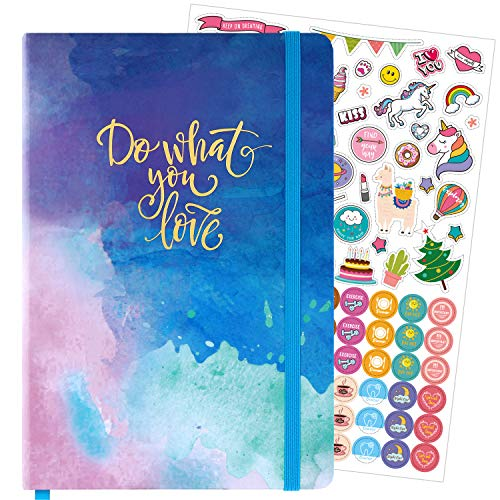 "Dotted Bullet Notebook/Journal - Dot Grid Hardcover Notebook, Premium Thick Paper with Stickers and Page Quick Page Finder, 5.75"" x 8.4"""