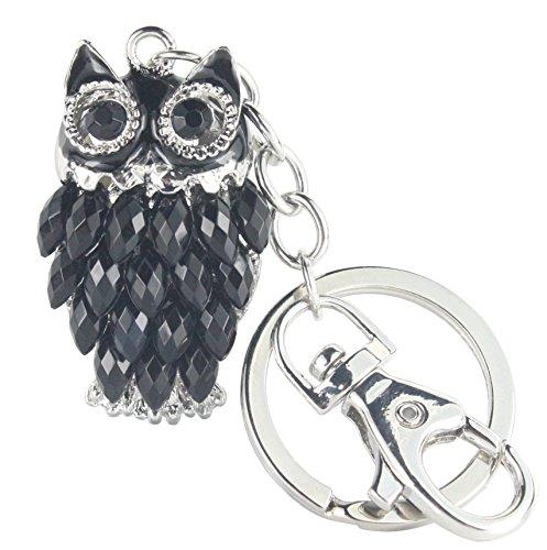 Quadiva Bag Charm Black Owl - Eule - Taschenanhänger für Damen (Farbe: Silber/schwarz) mit Kristallen besetzt