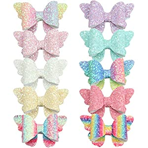 XIMA 10pcs Glitter Hair Bows Clips For Kids Girls Butterfly Hair Pin Accessoires Sparkly Bows Clips 1