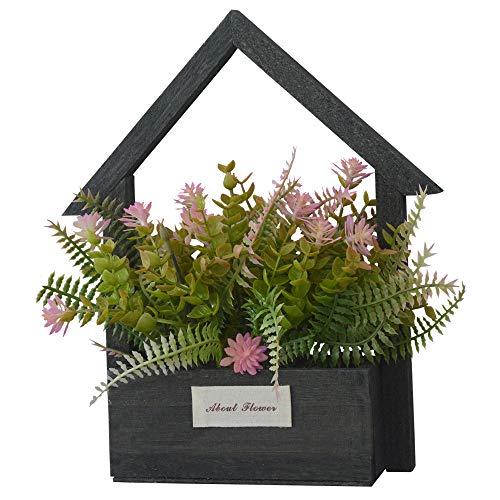 Home & Mas Kunstbloemen voor de tuin, met zwarte bloempot van natuurlijk hout, decoratieve rozen, 24 x 6 x 16 cm