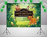 RUINI Cartoon Lion King Backdrop Jungle Safari Children Birthday Party Backdrop 5x3FT