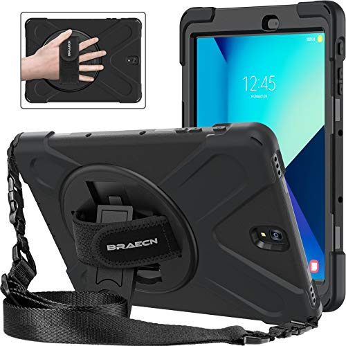 BRAECNstock Galaxy Tab S3 9.7 Case Cover Hybrid Protective Shield Case Cover w/ Palm Hand Strap/ Shoulder Strap/ Kickstand for Samsung Galaxy Tab S3 9.7 T820 Case (Black/Black)
