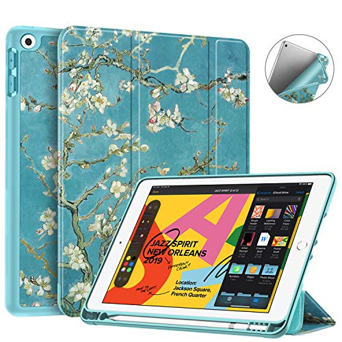 Fintie SlimShell Case for New iPad 7th Generation 10.2 Inch 2019 with Built-in Pencil Holder - Smart Stand Soft TPU Back Cover, Auto Wake/Sleep for iPad 10.2' Tablet, Blossom