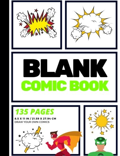 Blank Comic Book: Create Your Own Comic Strip, Blank Comic Panels, 135 Pages, Lime Green (Large, 8.5 x 11 in.) (Action Comics) (Volume 4)