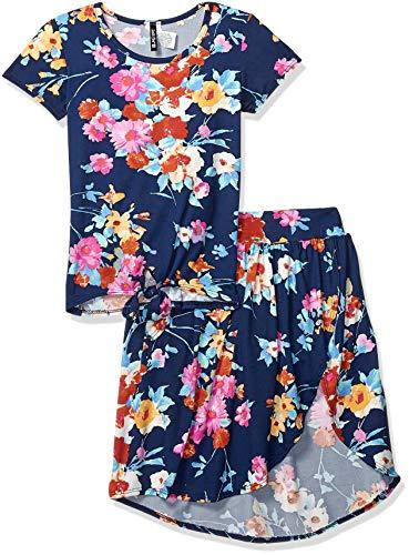 Instagirl Girls' Big Knit Top and Romper Skirt Set, Navy Pink Floral, 10/12