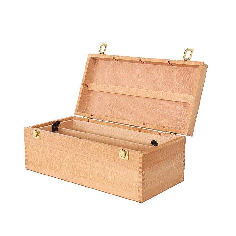 放送抑制する十分なアーティスト木製収納2トレイパステルボックス、ポータブルブナ材収納箱、ブナ塗装ツールボックス、ペイントボックス