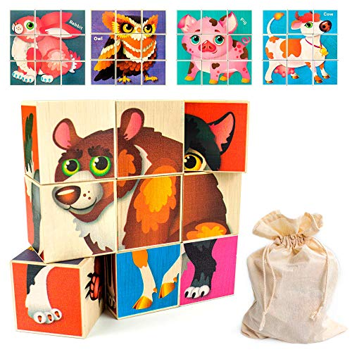 Quokka Wooden Toddler Puzzles Blocks for Kids Ages 35 and 48 Years 18 Wood Jigsaw Puzzle Blocks for Toddlers Building and Matching Games Preschool Learning Toys for Boys amp Girls in a Storage Bag