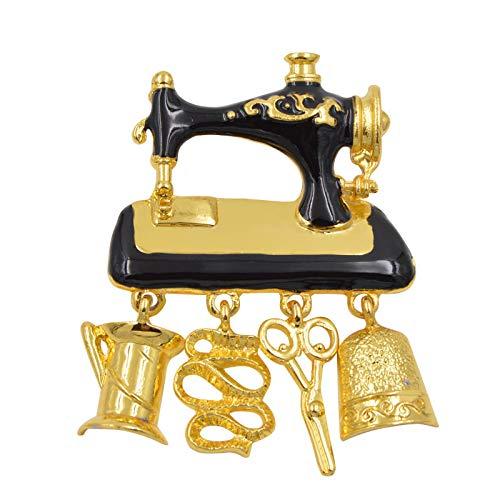 SODIAL Black Esmalte Máquina De Coser Broches para Mujer Moda Color Dorado Broche Lindo Buen Regalo Broch