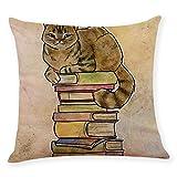 FiedFikt - Funda de almohada para sofá o coche, diseño de gato, funda de almohada suave, decorativa, algodón, lino, cuadrado, para decoración del hogar