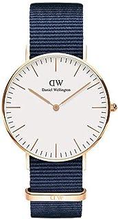 Daniel Wellington DW00100279 Fabric-Band White-Dial Round Analog Unisex Watch - Navy