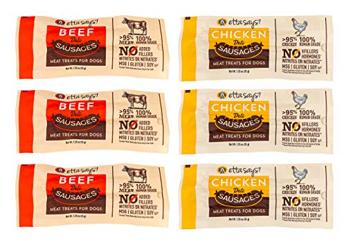 ETTA SAYS! Beef and Chicken Deli Sausage Link Meat Treats for Dogs – Pack of 6 – Made in The USA, Human Grade, No Added Hormones, No Nitrates or Nitrites, No MSG, Gluten-Free, Soy-Free (Variety)