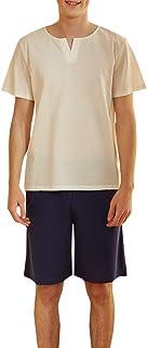 Mens Pyjama Set Lightweight Soft 2 Piece Short Pyjamas V Neck Top and Shorts Pants