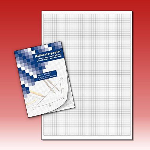 Millimeterpapier Zeichenblock technisches Zeichnen 50 Blatt DIN A4